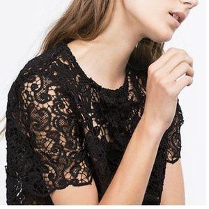 Black Guipure Lace Ruffle Zara Woman Blouse
